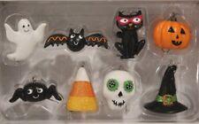 """Midnight Market- """"HALLOWEEN GHOST/BAT/PUMPKIN/CAT"""" (Mini 8pc Ornament Set) *NIB*"""