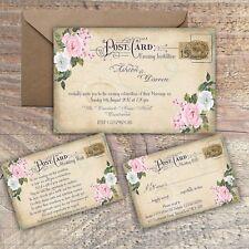PERSONALISED VINTAGE POSTCARD PINK & GREY FLORAL WEDDING INVITATIONS PACKS OF 10