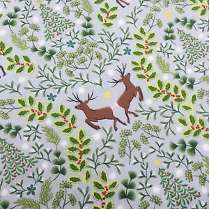 Grey reindeer stags Christmas metallic stars Lewis & Irene 100% cotton fabric
