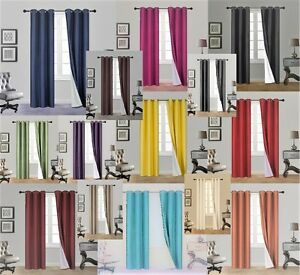 2PC Insulated Lined 100% Heavy Thick Blackout Grommet Window Curtain Panels ADAM