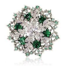 Vintage Style Emerald Dark Green Wedding Bouquet Shiny Diamante Brooch Pin BR333
