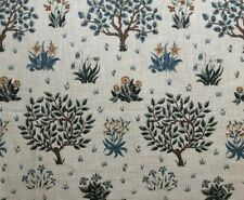 William Morris Curtain Fabric 'Orchard' 1.55m Olive/Gold - Linen Mix