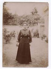PHOTO ANCIENNE MODE FASHION Femme Jardin Portrait Vers 1900 Robe noire Coiffure