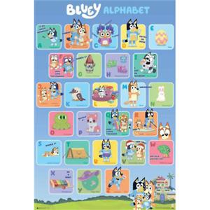 "Bluey Poster – Alphabet Chart ABC – Bandit Bingo Chilli – 91 x 61 cm 36"" x 24"""