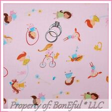 BonEful FABRIC FQ Cotton Pink Bunny Bird Sm City Girl Candy Cat Bike Play Flower
