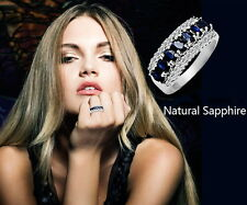 18K White Gold Plated Blue Sapphire Women Birthstone Wedding Bridal Ring R21