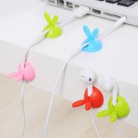 4pc Plastic Cable Holder Cute Rabbit Shape Wire Clip Organizer Winder Wrap Cord