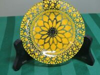 "Sydenstricker Fused Art Glass Plate Lace Yellow 4"" Mini Cape Cod Mass HG7"