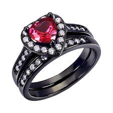 Engagement Wedding Rings Size 5- 10 Women Black Sterling Silver Ruby Heart Cut