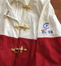 Vintage Ralph Lauren CP RL-93 Mens L Coat Jacket Nautical Red and Off White HTF