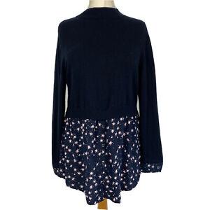 Mint Velvet Navy Blue Cashmere Blend Overlay Star Print Shirt Jumper Size 16