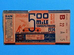 Vintage Original 1934 Indianapolis Indy 500 Ticket Stub Auto Racing #2