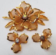 Brooch Pin & Earrings Set Gold Mesh Vintage Gold Tone & Rhinestone Leaf Flower