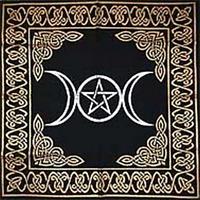 "Altar Tarot Cloth: Triple Goddess With Pentagram 24"" x 24"" Gold/Silver Spiritual"