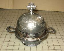 """Vintage James TUFTS #2027 Silverplate 6"""" Covered Dish - Butter? Good- Condition"""