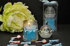 12 PCS Blue Baby Bottle Candle Baby Shower Favor Gift Party Decoration Recuerdos