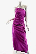 VERA WANG Fuchsia Silk Satin Strapless Couture Gown w/Asym. Bustier - US6 - FAB