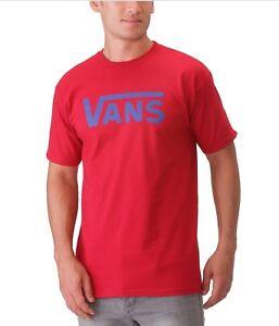 Vans Hombre Logo Clásico Camiseta Rojo/Azul Nuevo con Etiqueta Vgggtuv