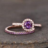 1.6ct Round Purple Amethyst Halo Bridal Set Engagement Ring 14k Rose Gold Finish