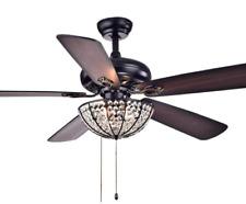 "Warehouse of Tiffany Cfl-8167Bl Hannele Bowl 3-Light Black 52"" Ceiling Fans Lamp"