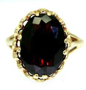 Large Vintage Garnet 9ct Yellow Gold ring size M ~ US 6 1/4