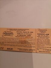 CANADA JAM  CONCERT  UNUSED TICKET SUPER RARE AUG. 26, 1978 MOSPORT PARK