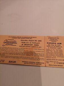 CANADA JAM  CONCERT  UNUSED TICKET SUPER RARE AUG. 26, 1978 MOSPORT PARK