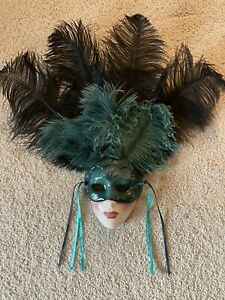 Vintage Ceramic Mardi Gras Masks, With Feathers