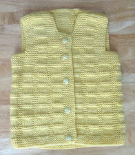 Lovely Handmade Knitted Unisex Baby's Cardigan Yellow w Smiley Face Buttons