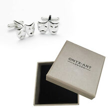 Mens Silver Theatre Drama Mask Cufflinks & Gift Box By Onyx Art