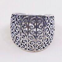 Sz 7.75, Vtg Sterling Silver Handmade Ring, 925 Silver Band W/ filigree swirl