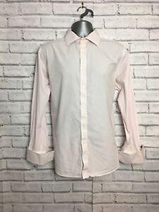 Osborne Mens Pink Stripe 16 1/2 Inch Collar Shirt Career Office Wear city attire