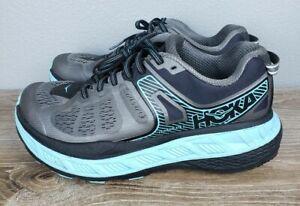 Hoka one one Stinson ATR 5 womens hiking trail running shoes size 8 grey blue