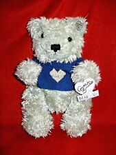 """Annette Funicello Bear Co.12"""" Gray plush in Blue sweater w/Heart Jointed w/tags"""