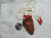 Wonderstone Jasper Pendant and Earrings Wire wrapped Gold Clad Copper