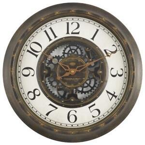 "15.5"" Industrial Gear Wall Clock in Aged Bronze Metal Hands"