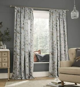 Voyage Maison Tafuna Lined Pencil Pleat Cotton Blend Curtains in Dawn Grey