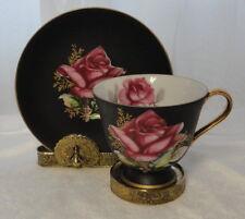 Vintage NORCREST C157 England China CUP & SAUCER Flat Matte Black ROSE Gold Trim