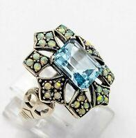 Blau Topas Ring Blau Topas & Opal synth.  925er Silber ANTIK STYLE   # 54