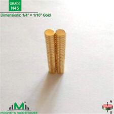 "50-count N45 Disc rare earth NdFeb magnets 1/4"" x1/16"" Gold(True N45)"