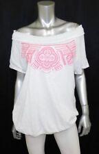 LANE BRYANT NEW White/Pink Embroidered Smocked Off Shoulder Shirt Plus sz 14/16