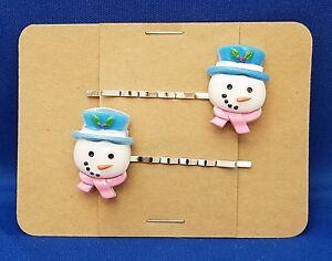 SNOWMAN HEAD Blue Hat - Handmade Bobby PIn Hair clips - Set of 2