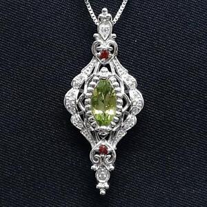 World Class 1.05ctw Peridot, Garnet & Diamond Cut White Sapphire 925 Pendant 4g