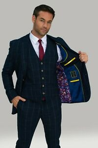 Mens Cavani Quality Navy Blue Wool Check Angel Wedding Tailored Fit 3 Piece Suit