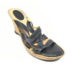 Women's Born Slide Wedge Sandals Flip Flops Shoes Size 9 B Black Leather S6