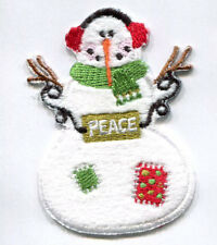 CHRISTMAS EMBROIDERED IRON ON SNOWMAN APPLIQUE 3664-K