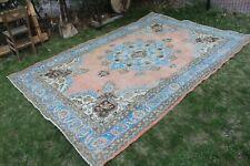 """Vintage Handmade Turkish Oushak Nursery Coral Area Rug 10'5""""x7'"""
