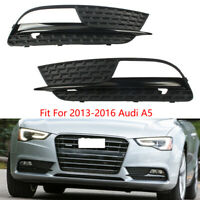 2Pc Front Bumper Grille Fog Light Grille Cover Fit For 2013-2017 Audi A5