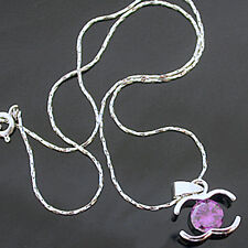 """1.80ct Created AMETHYST Pendant & FREE 16.5"""" Necklace 