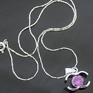 """1.80ct Created AMETHYST Pendant & FREE 16.5"""" Necklace   14K White Gold EP   NEW"""